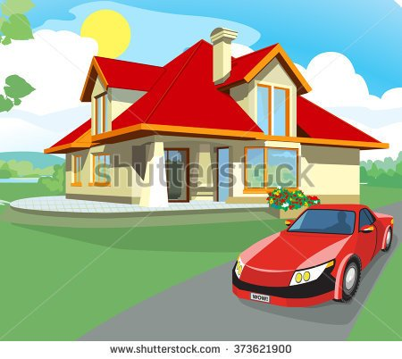 House and car clipart.