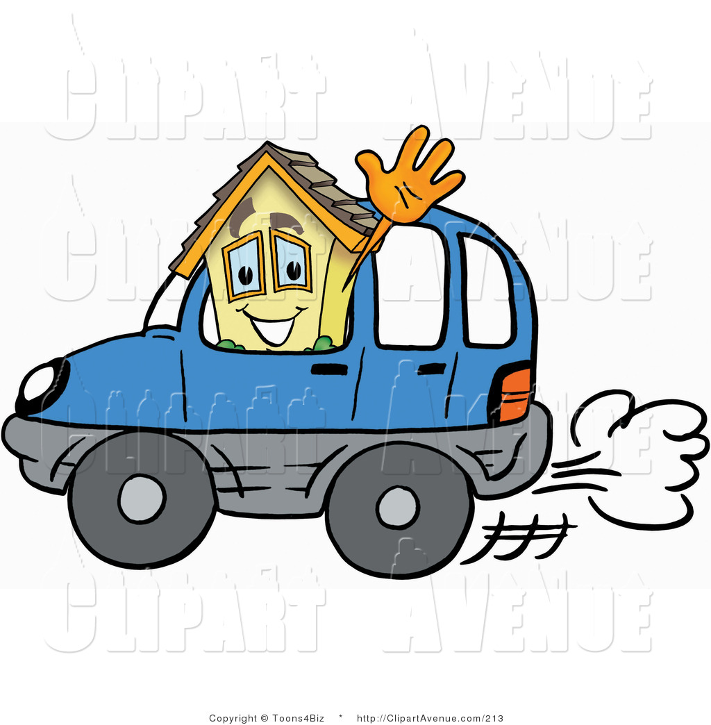 Avenue Clipart of a Home Mascot Cartoon Character Driving a Blue.
