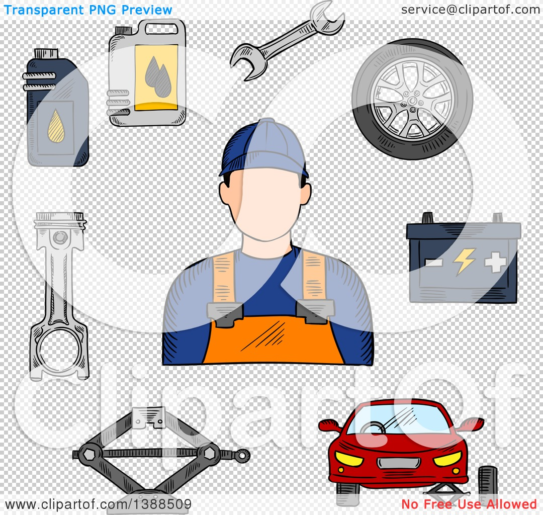 Clipart of a Sketched Mechanic, Car on Jack, Wheel, Spanner.