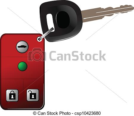 Clip Art Vector of Car key with remote control isolated over white.