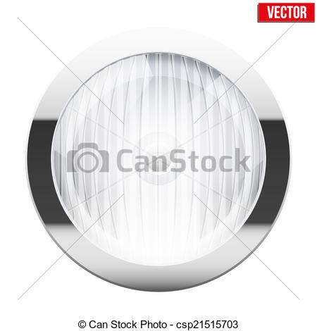Vector Clipart of Round car headlight. Vintage Vector Illustration.