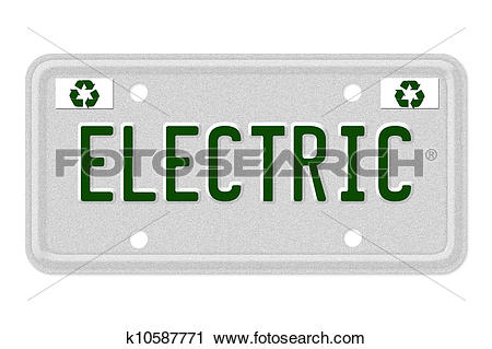 Clipart of Electric Car License Plate k10587771.