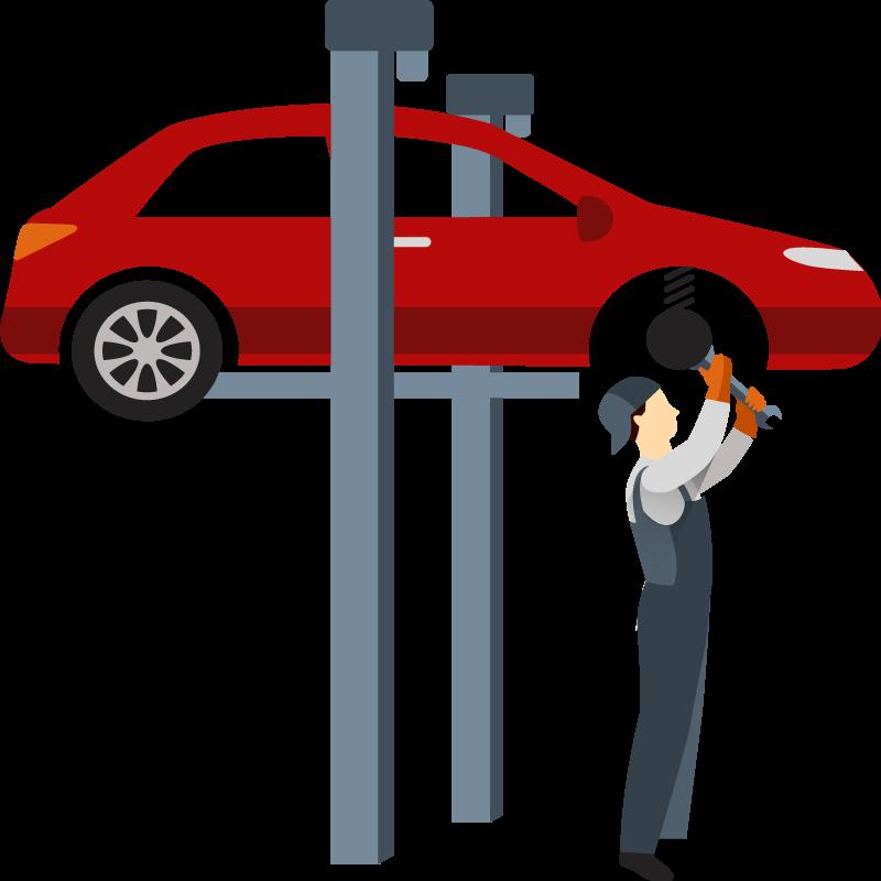 Car lift, oil disposal, air line.
