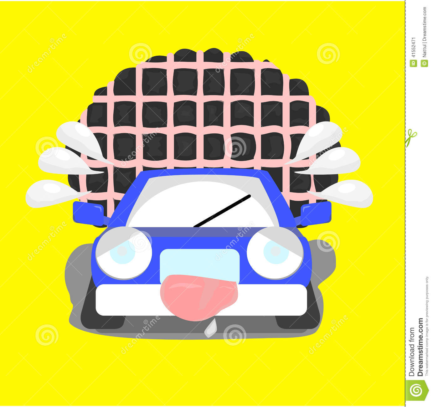 Cartoon Car With Over Limit Load Stock Vector.