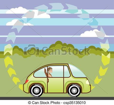 Vector Clip Art of Ecological Green car self.
