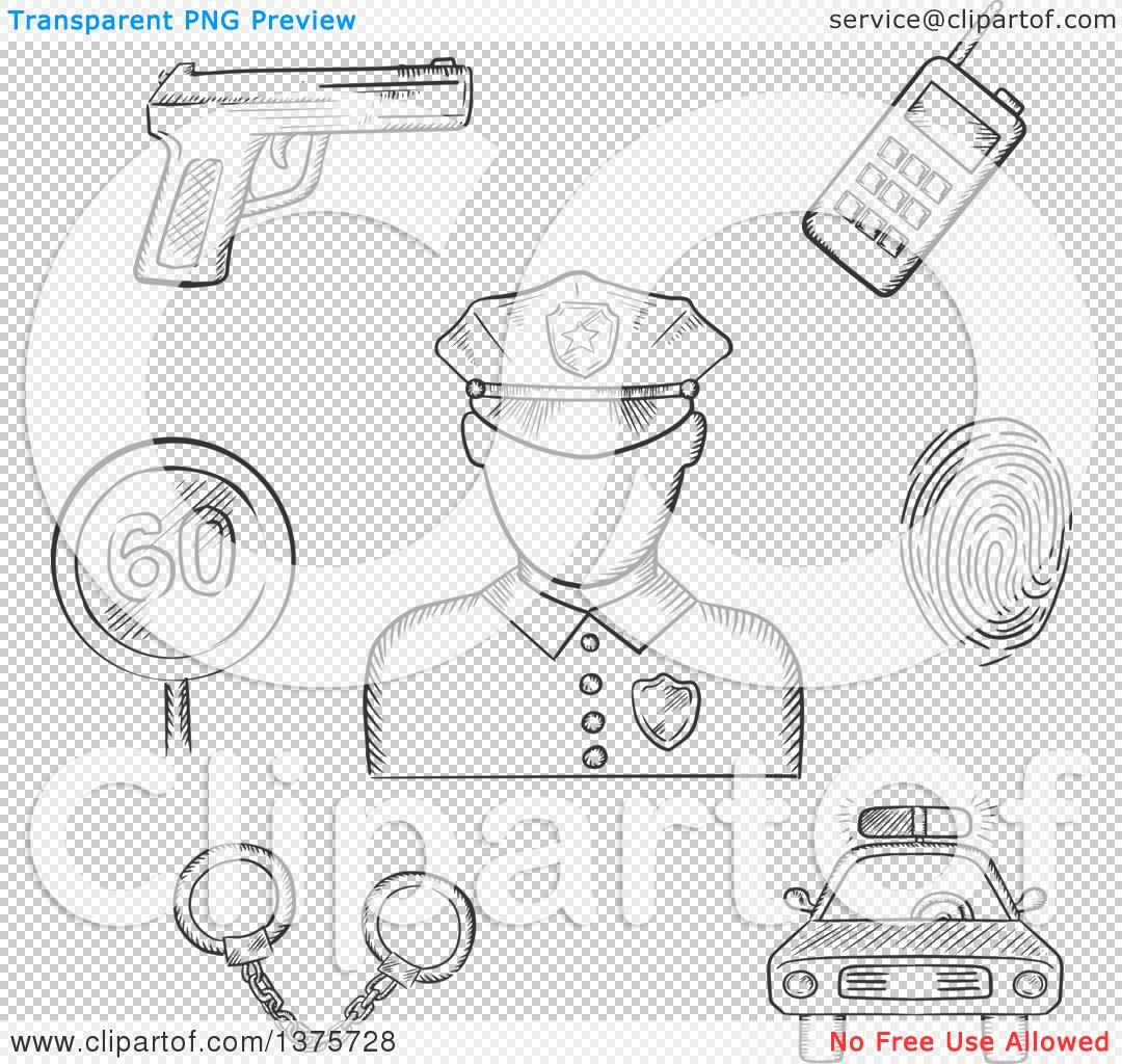 Clipart of a Grayscale Sketched Policeman Surrounded by Car.