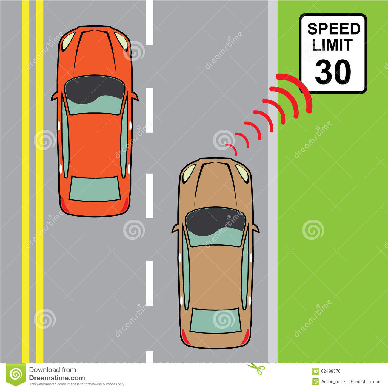 Car Scans Speed Limit Sign Stock Vector.