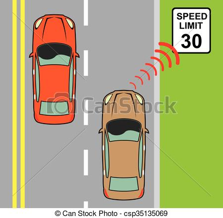 Clip Art Vector of Car scans speed limit sign csp35135069.