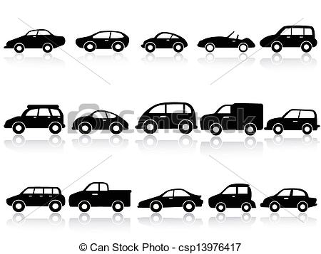 Vector Clip Art of car silhouette icons.