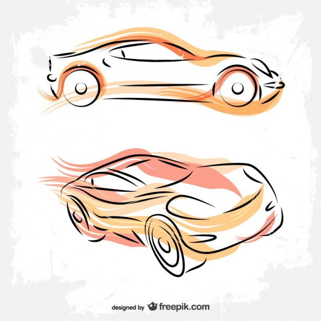 Cars line art drawing Vector.