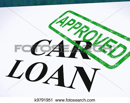 Clipart of Car Loan Approved Stamp Shows Auto Finance Agreed.