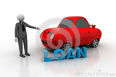 3d Man With Car, Car Loan Concept Royalty Free Stock Photography.