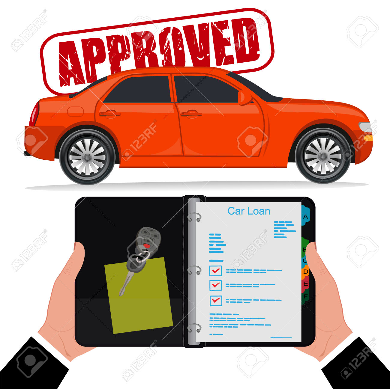 Approved Car Loan, Vector Illustration, Flat Style Royalty Free.