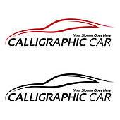 Calligraphic car logos Clip Art.
