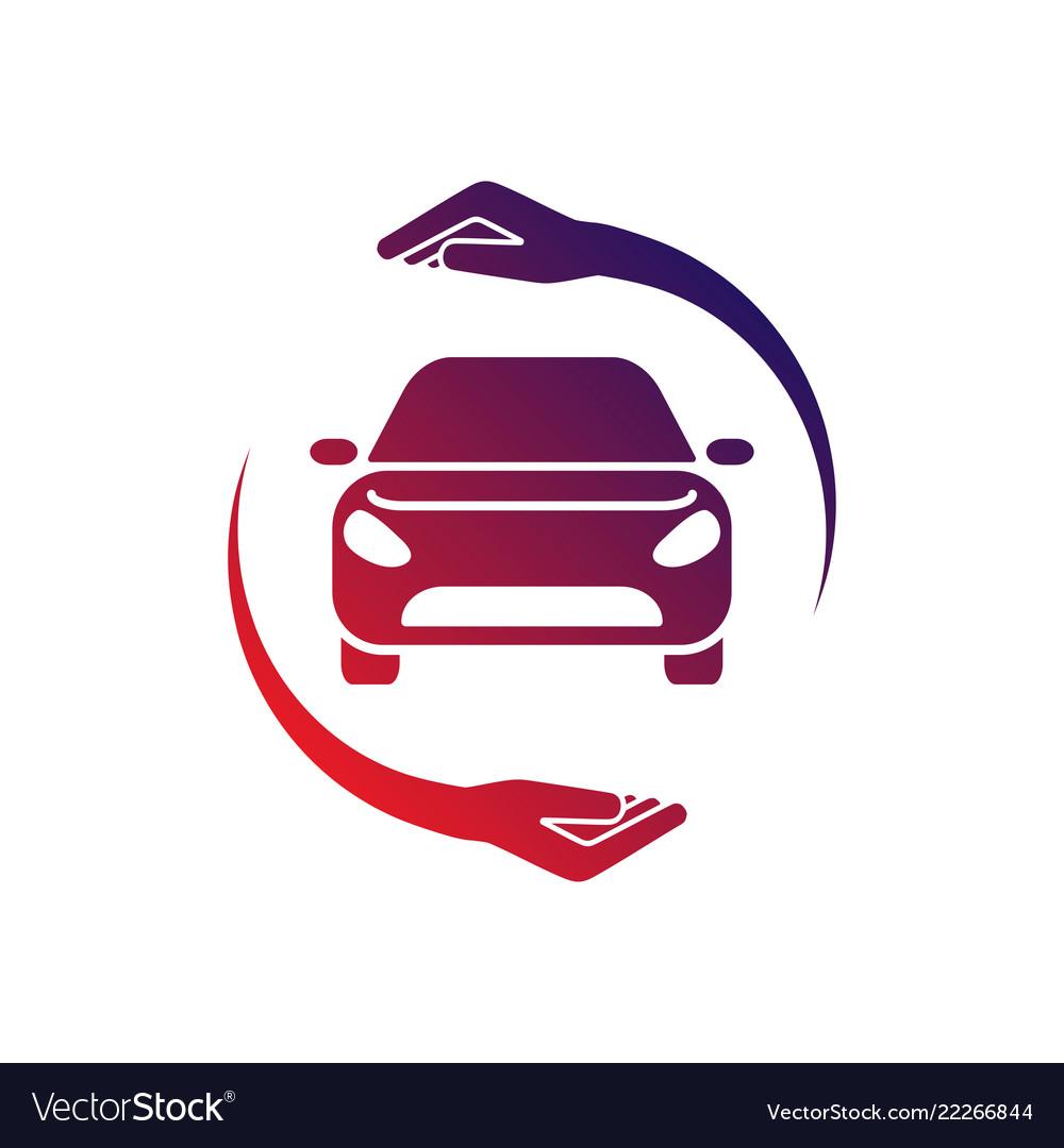 Car logo with circle hand colorful logo.