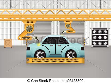 Vector Clipart of car assembly.