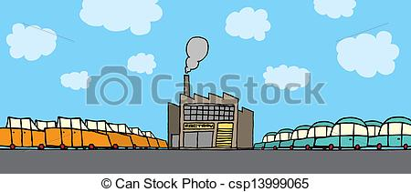 Clip Art Vector of Cartoon car factory csp13999065.