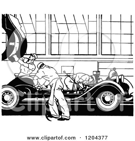 Clipart of a Vintage Black and White Automobile Factory.