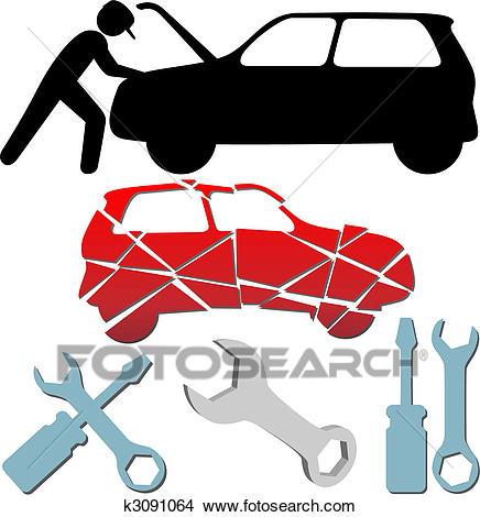 Auto Repair Maintenance Car Mechanic symbol set Clipart.