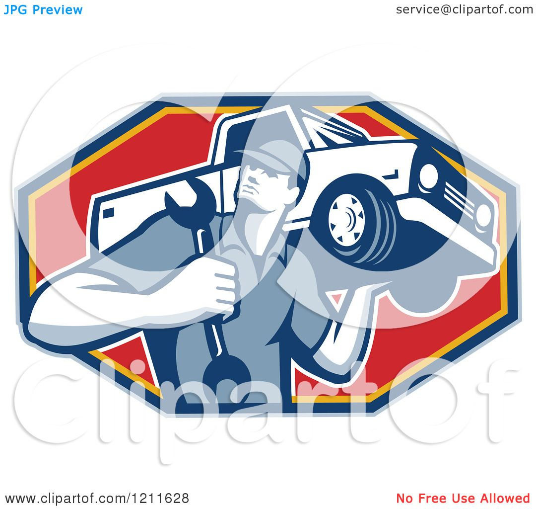 Clipart of a Retro Car Mechanic Holding a Truck on His Shoulder over.
