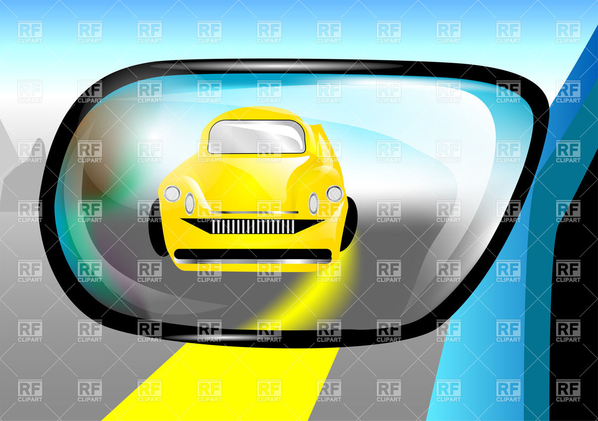 Yellow car in the rear view mirror Vector Image #34796.