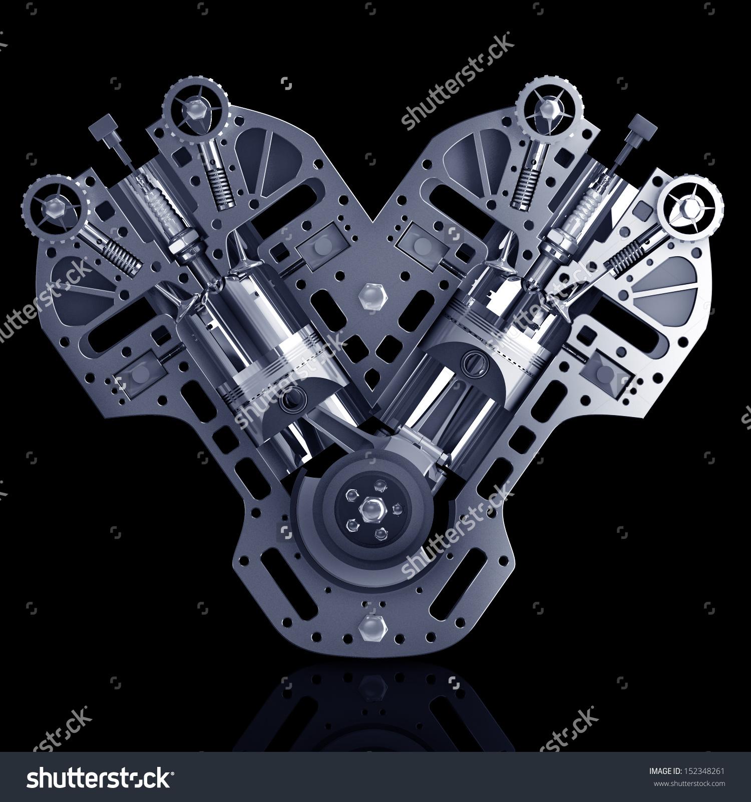 V8 Engine Clipart.