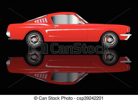 Vector Clipart of Very Fast Red Car.