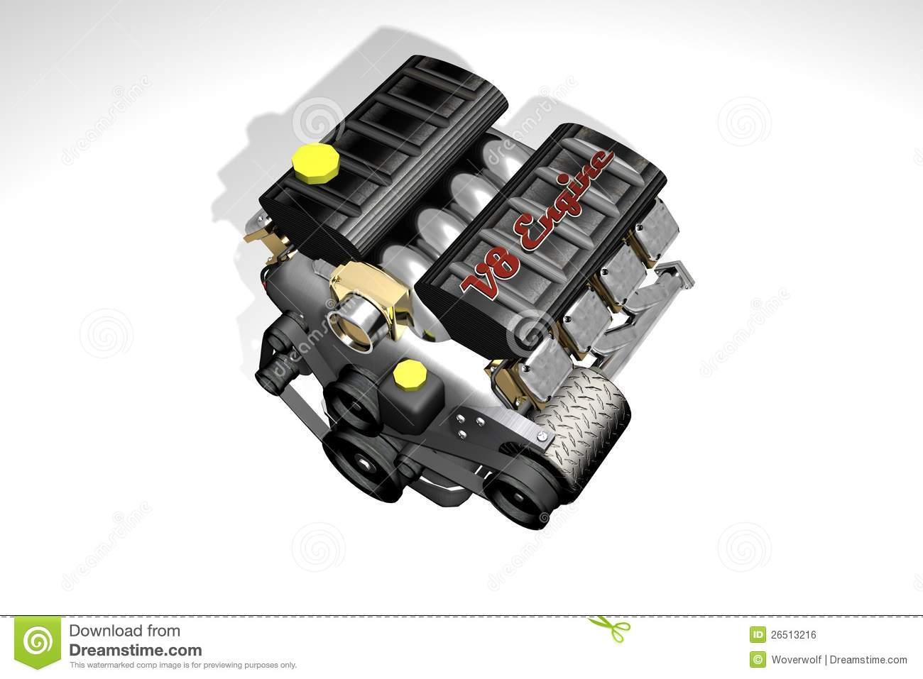 Engine Car V8 Royalty Free Stock Image.