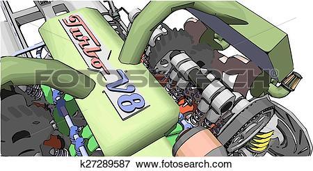 Clip Art of V8 Engine. Colour illustration of a car engine.