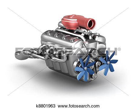 Drawing of V8 engine with turbocharger k8801963.