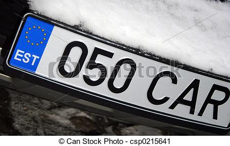 Stock Photography of Estonia Car Number Plate.