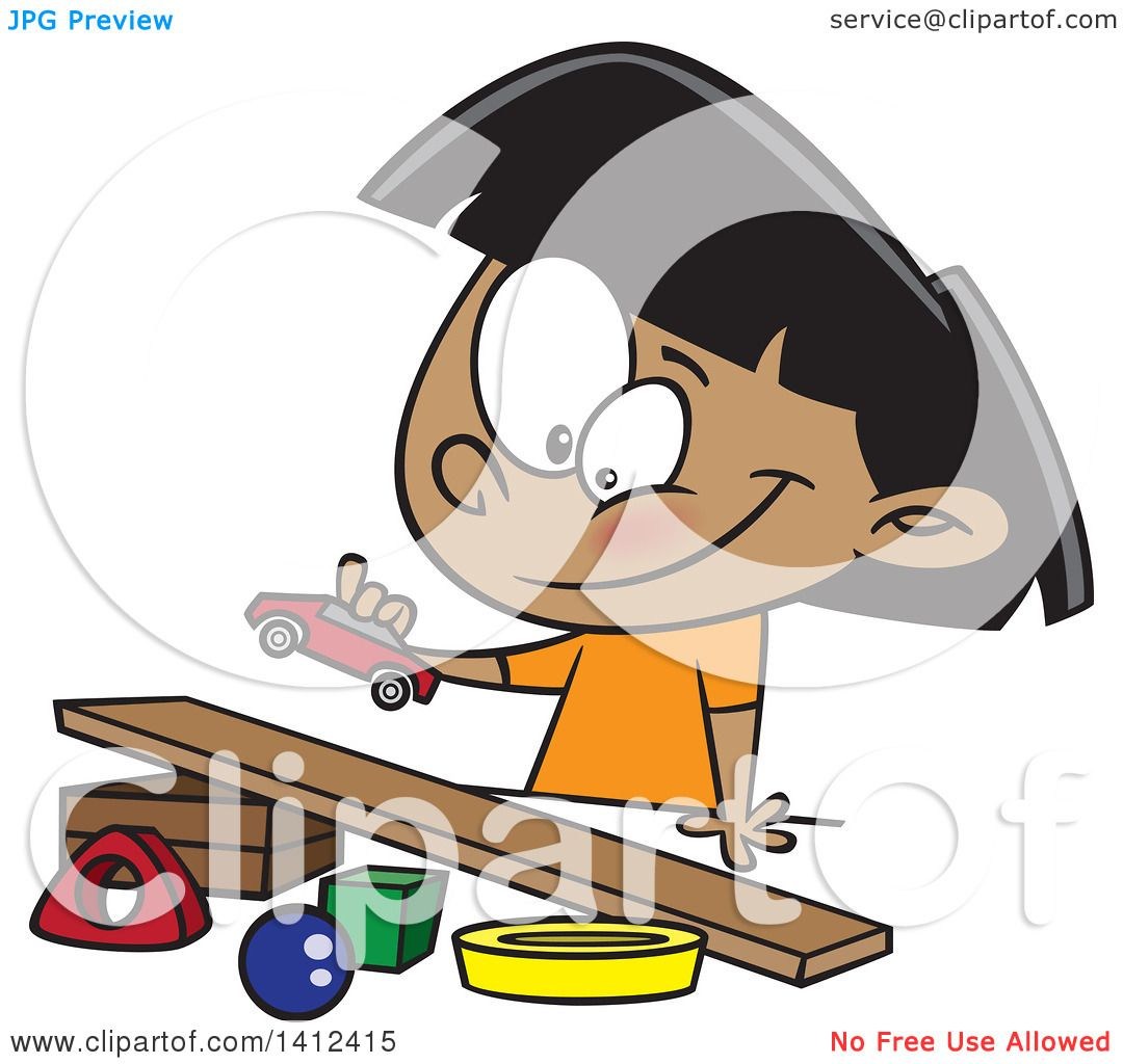 Clipart of a Cartoon Indian Girl Playing with a Toy Car and Ramp.