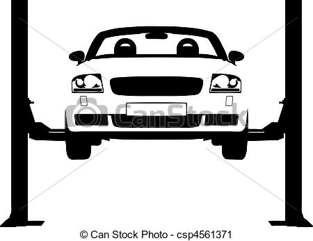 Car On A Ramp Clipart.