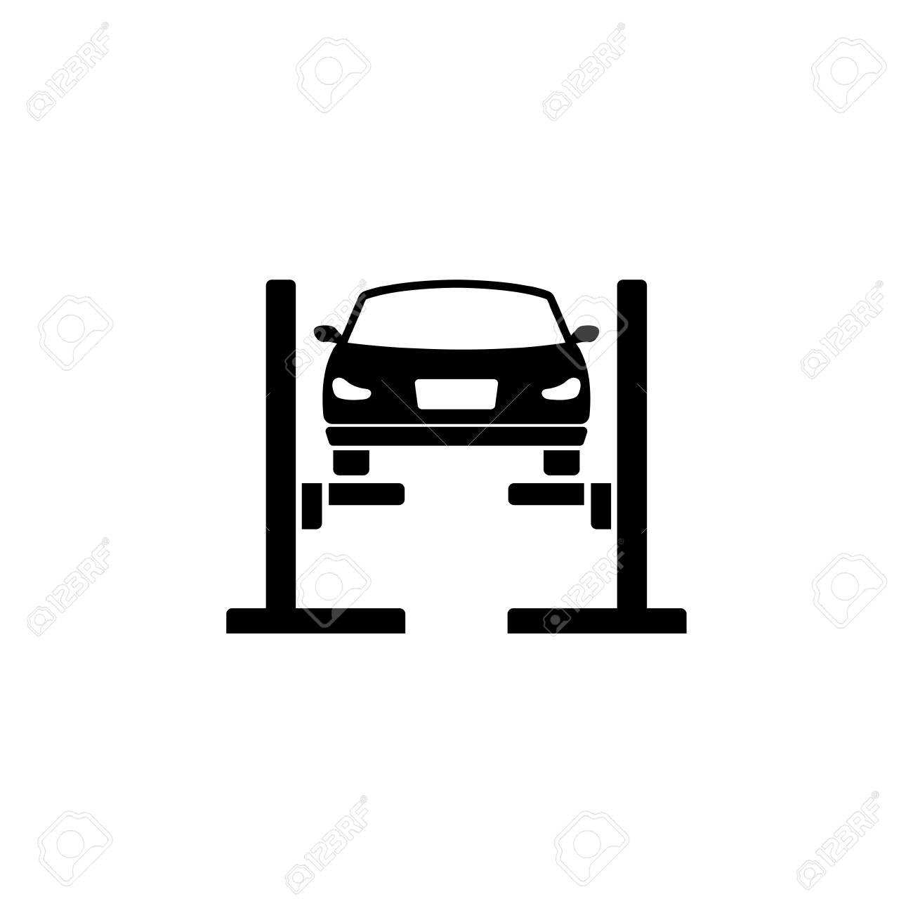 Car Lift. Filled Car Service. Flat Vector Icon. Simple black...