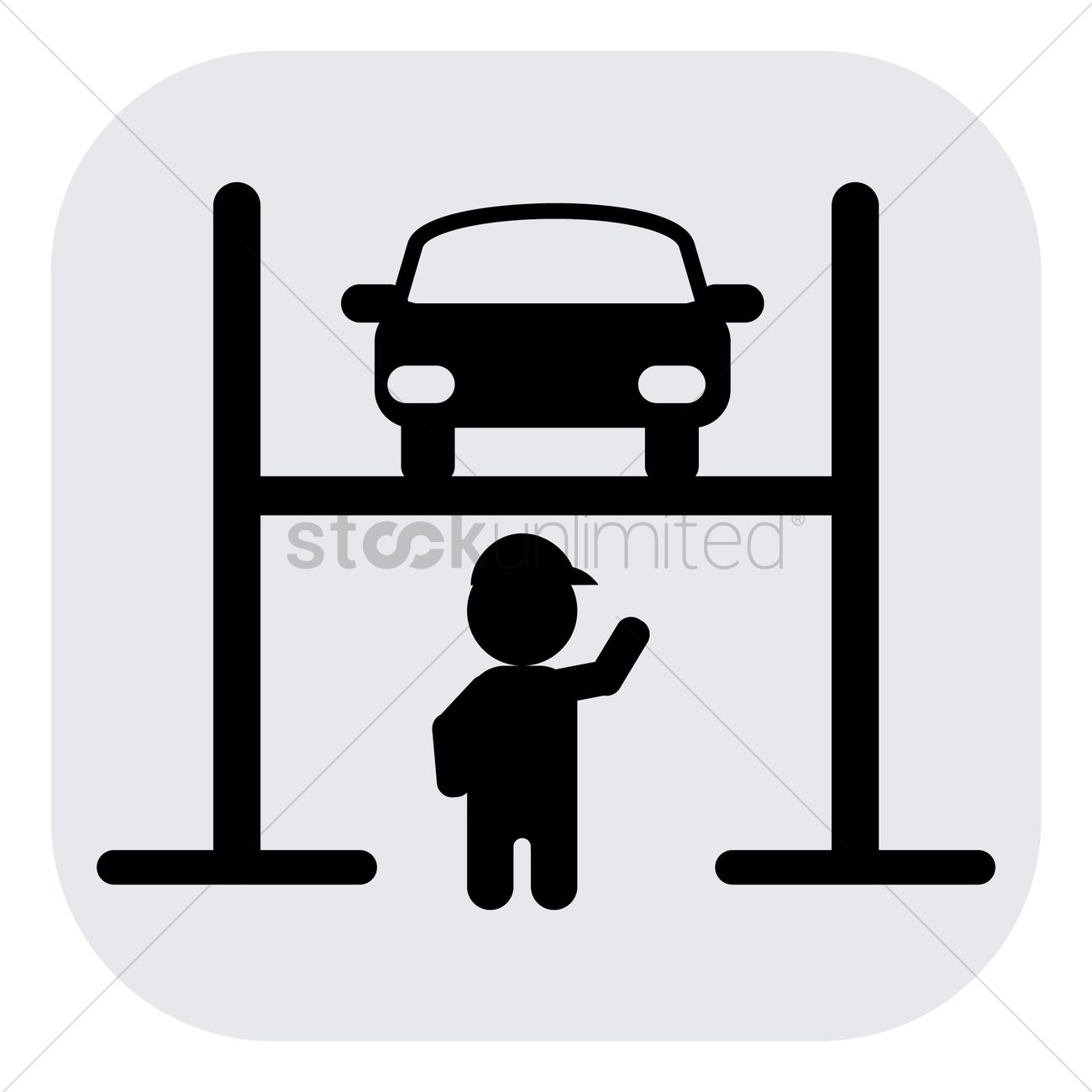 Car lift and mechanic Vector Image.
