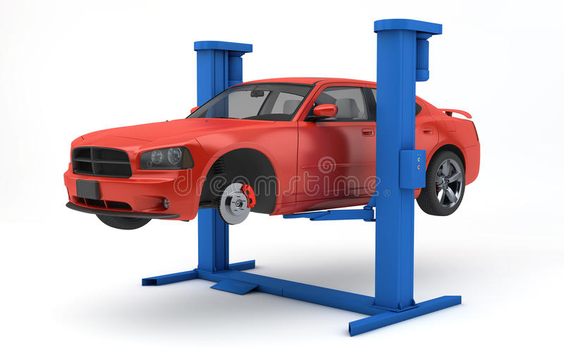 Car Lifted Up Lift Stock Illustrations.