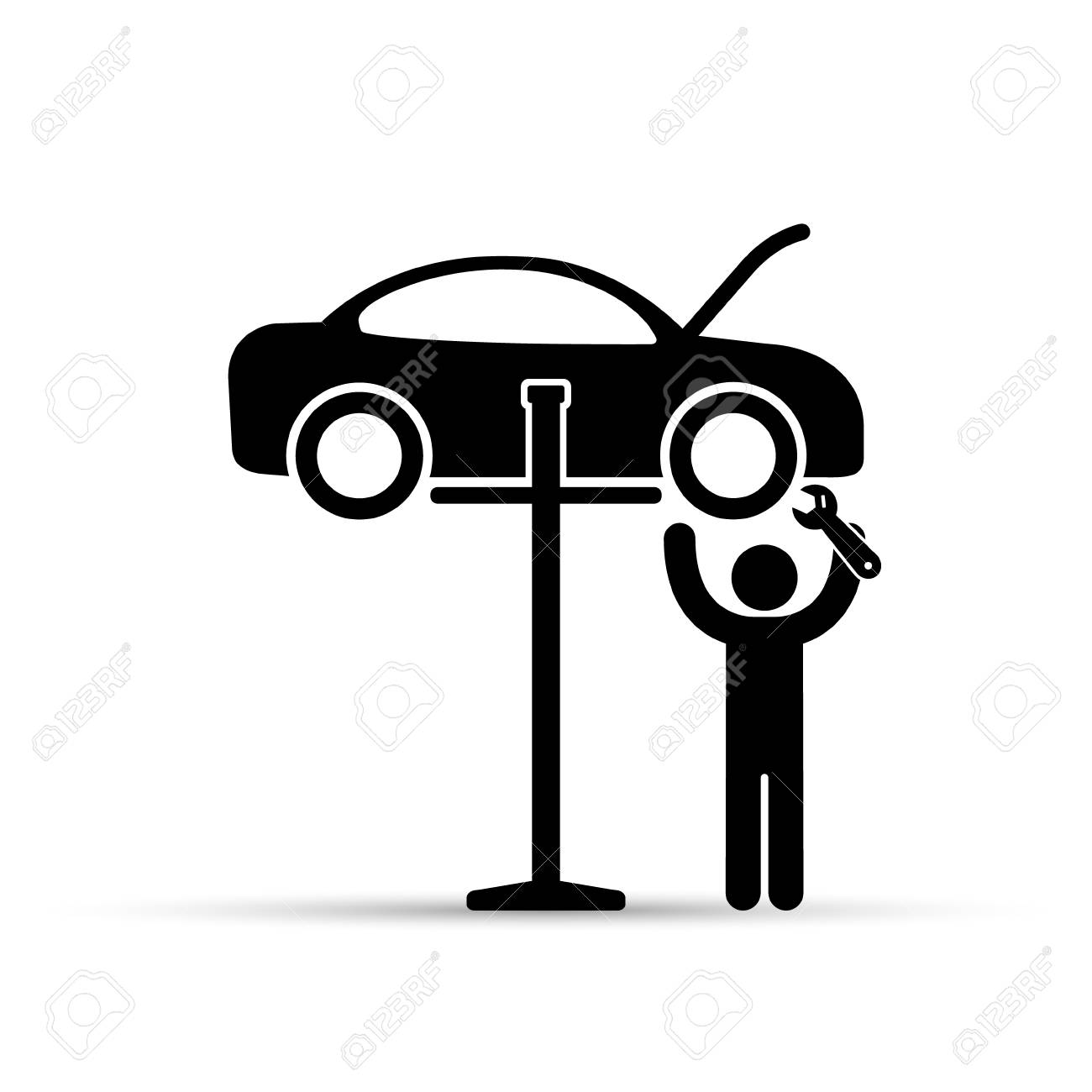 Car on lift and mechanic silhouette icon, vector. Car service...