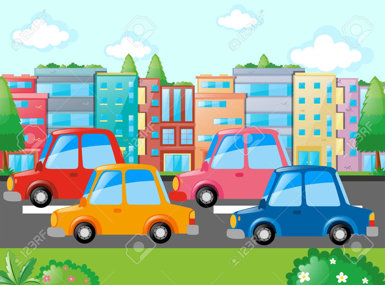 Scene with many cars on road illustration.