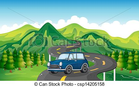 A blue car and the winding road.
