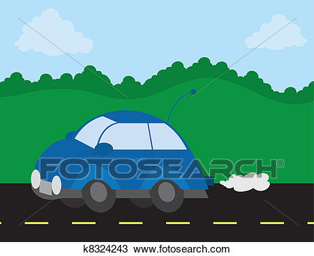 Car Driving On The Road Clipart.