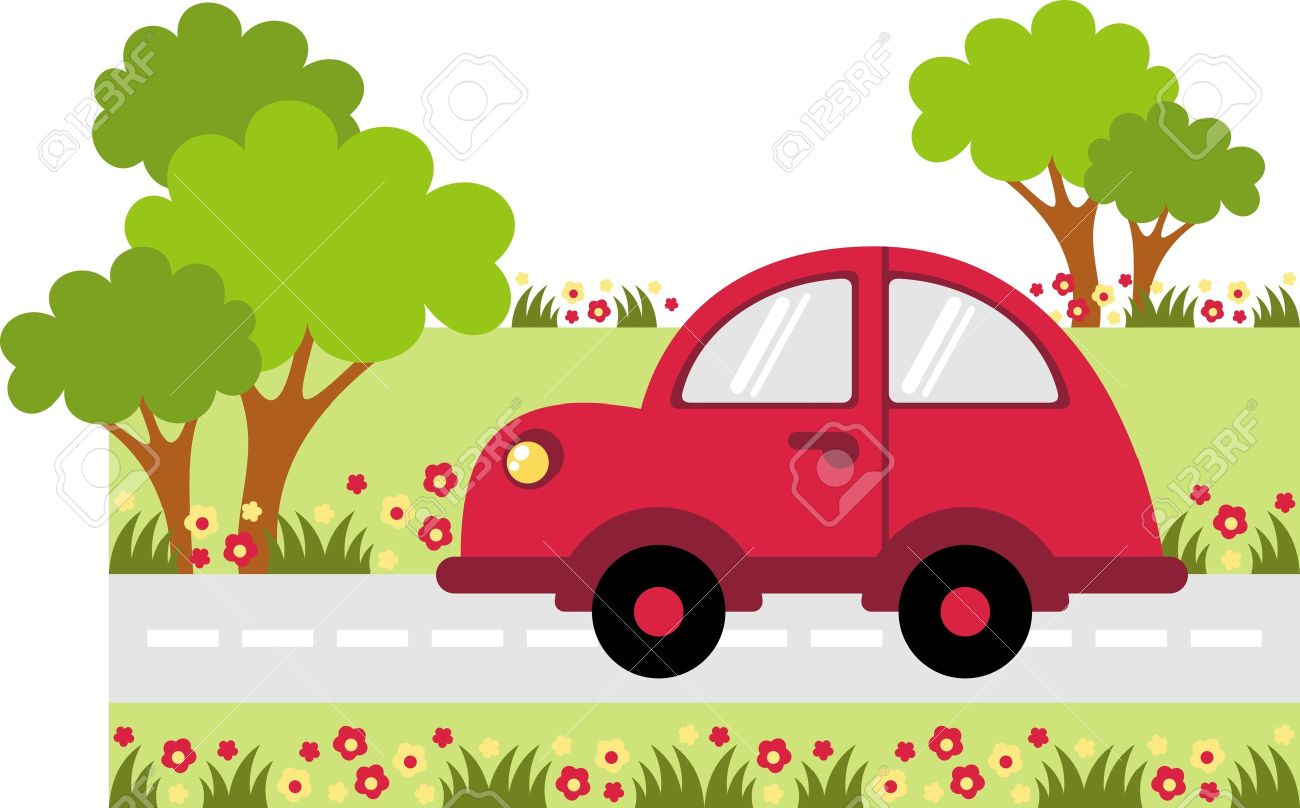 small car traveling on the road along the tree.