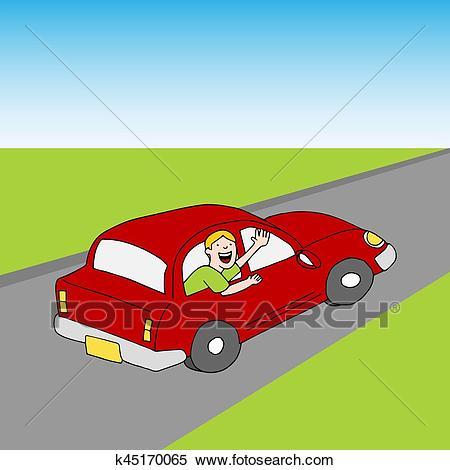 Passenger Waving Goodbye From Car Road Clipart.