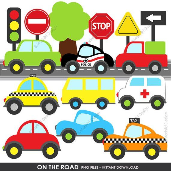 Transportation Clip Art, On the Road, Cute Cars Clipart, Road Sign.
