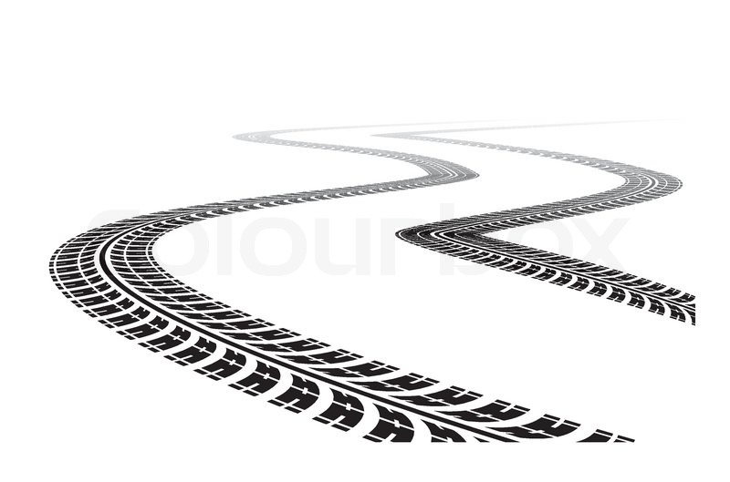 Tire tracks in perspective view. Vector illustration isolated on.