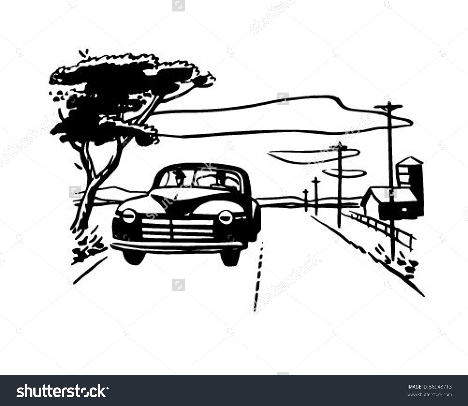 Driving On A Country Road Clipart.