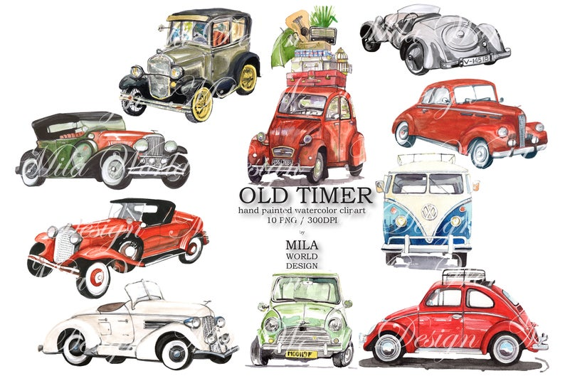 Old Timer Watercolor Clip Art, Retro Car Hand painted clipart, Instant  download PNG file.