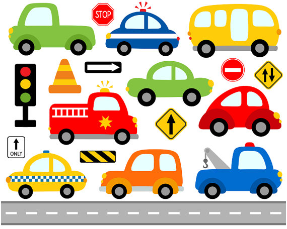 Cute Cars Digital Clip Art, Transportation, Road Signs Illustration.