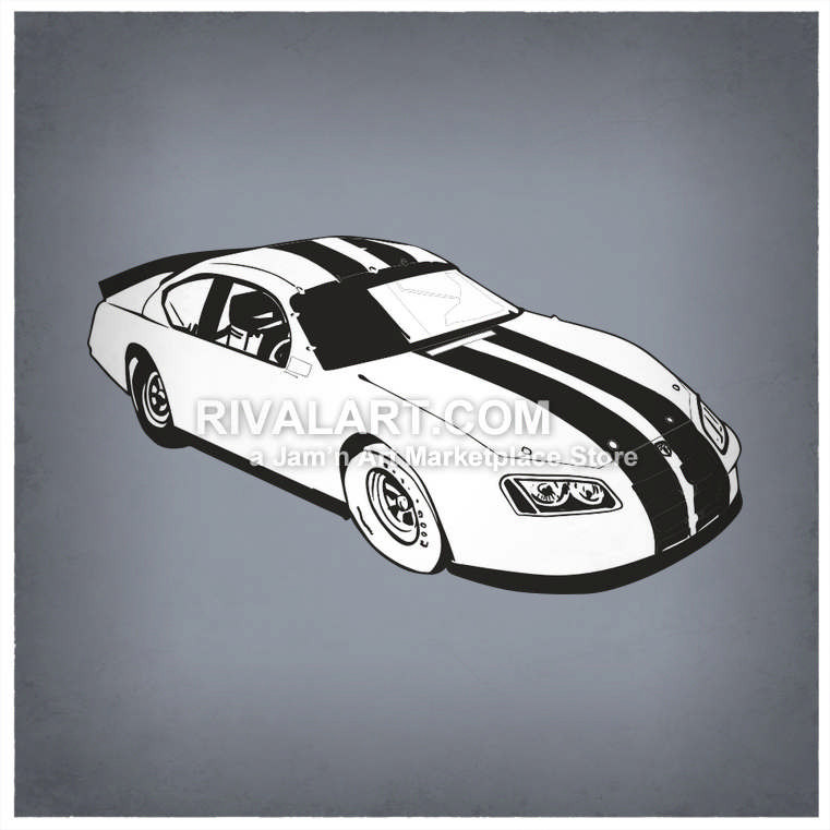 Black White Race Car Racing Stripes Graphic.