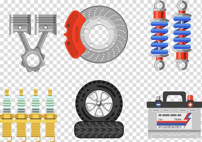 Vehicle part lot illustration, Car Brake pad Tire, Auto.