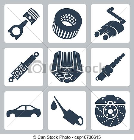 Royalty free car parts clipart.